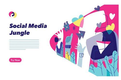 Social Media colorful graphic illustration - 06