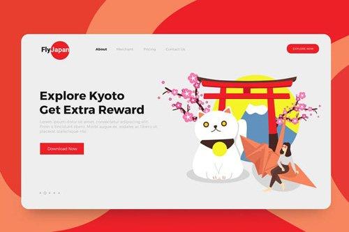 Japan Travel Illustrations Landing Page
