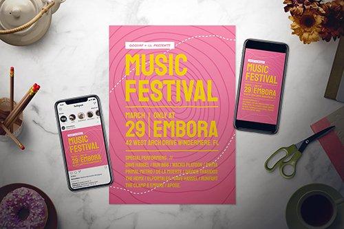 Music Festival Flyer Set PSD