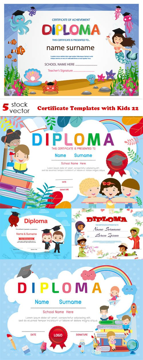 Vectors - Certificate Templates with Kids 22