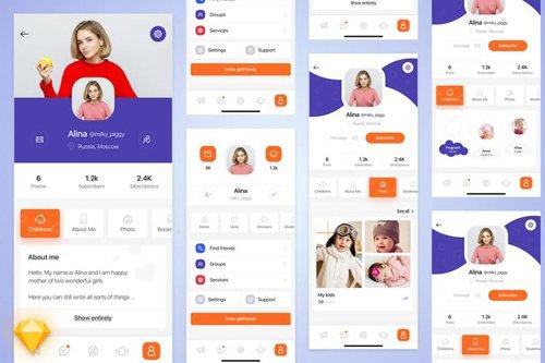 Mom-life mobile app UI Kit