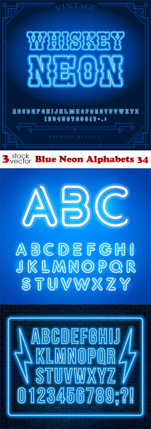 Vectors - Blue Neon Alphabets 34