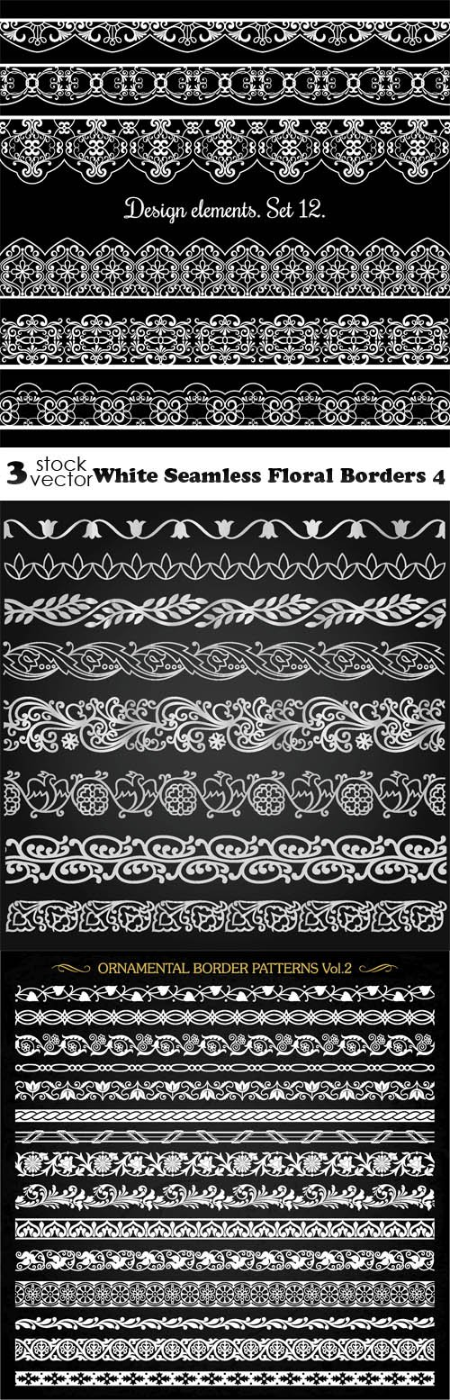 Vectors - White Seamless Floral Borders 4