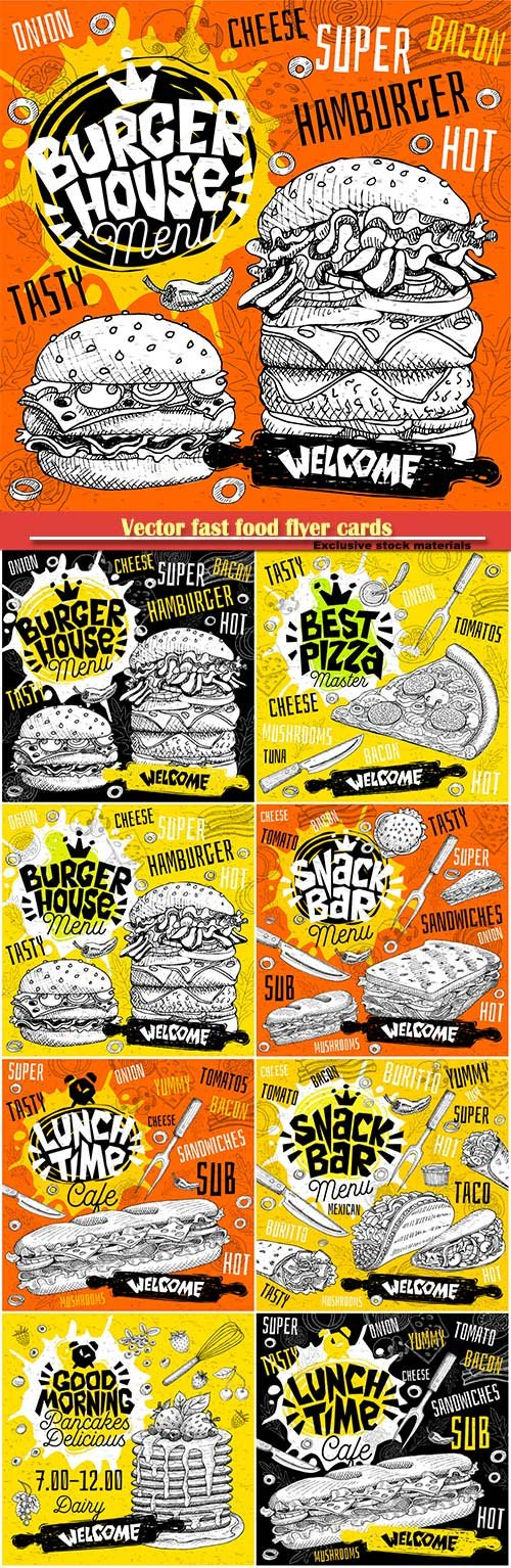 Vector fast food flyer cards for bar cafe restaurant menu