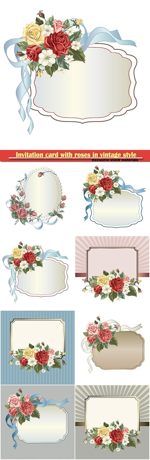Invitation card with roses in vintage style, vector illustration