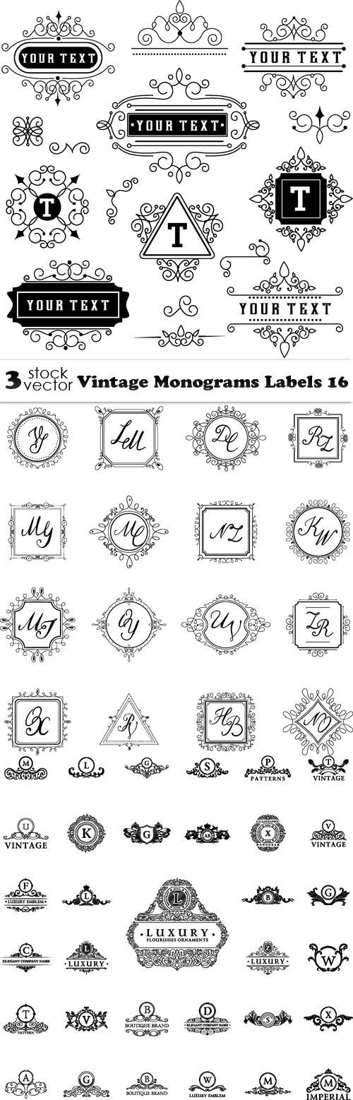 Vectors - Vintage Monograms Labels 16