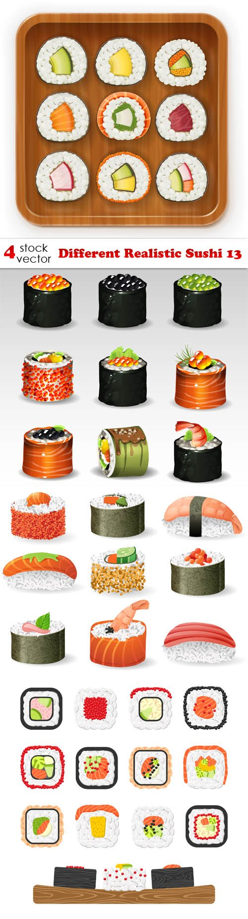 Vectors - Different Realistic Sushi 13