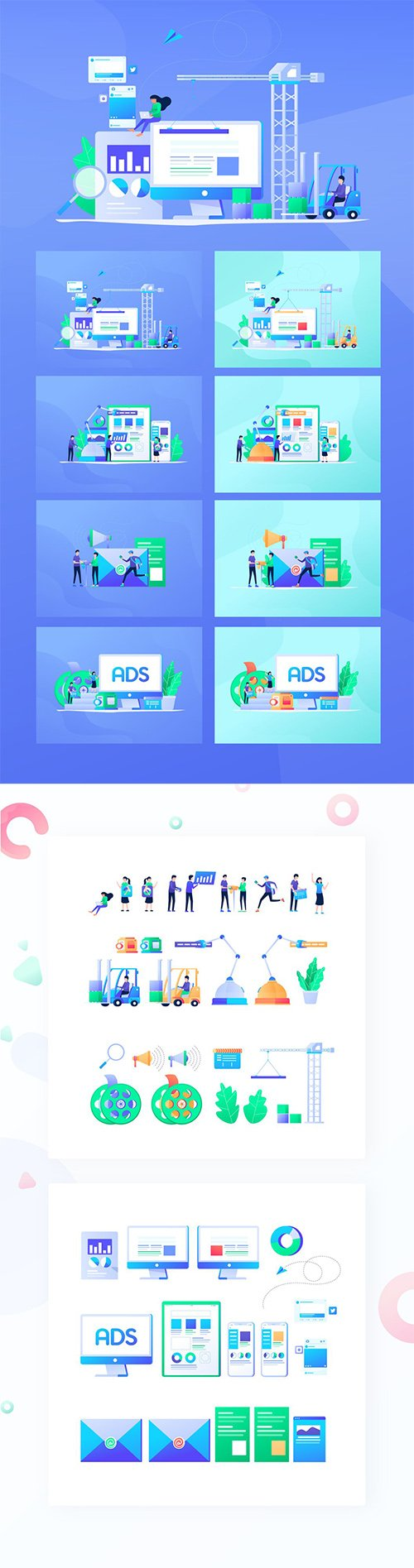 Digital Marketing Flat Design Vol. 01