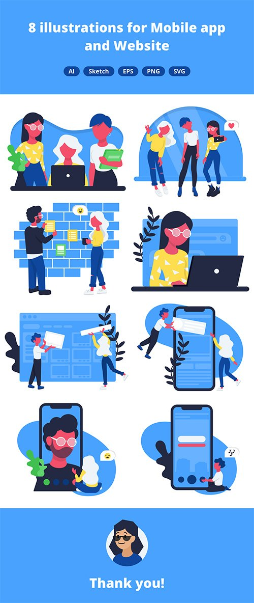 8 Office Illustrations