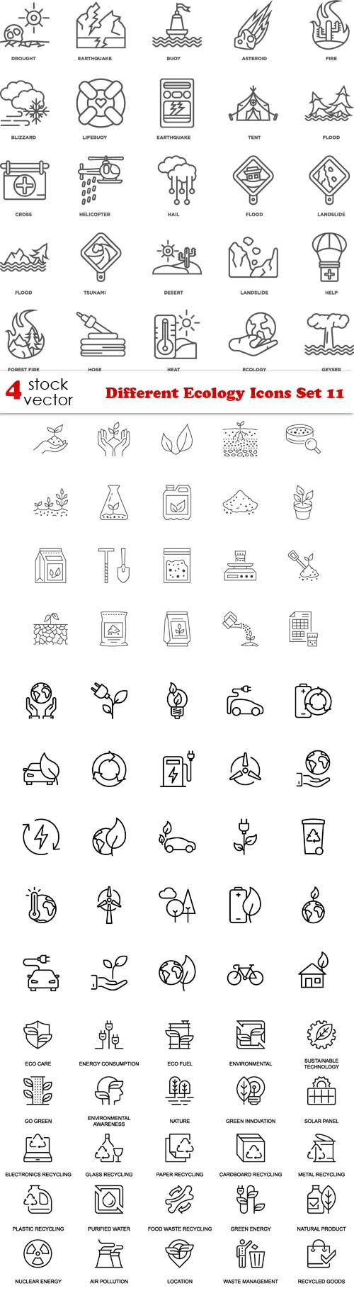 Vectors - Different Ecology Icons Set 11