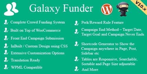 CodeCanyon - Galaxy Funder v10.6 - WooCommerce Crowdfunding System - 7360954