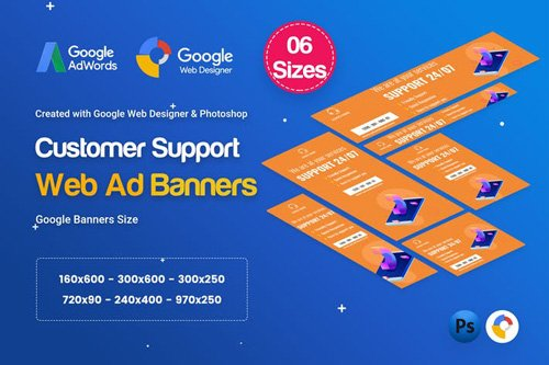 Customers Support Banners HTML5 D49 Ad - GWD & PSD - ZVXSRS