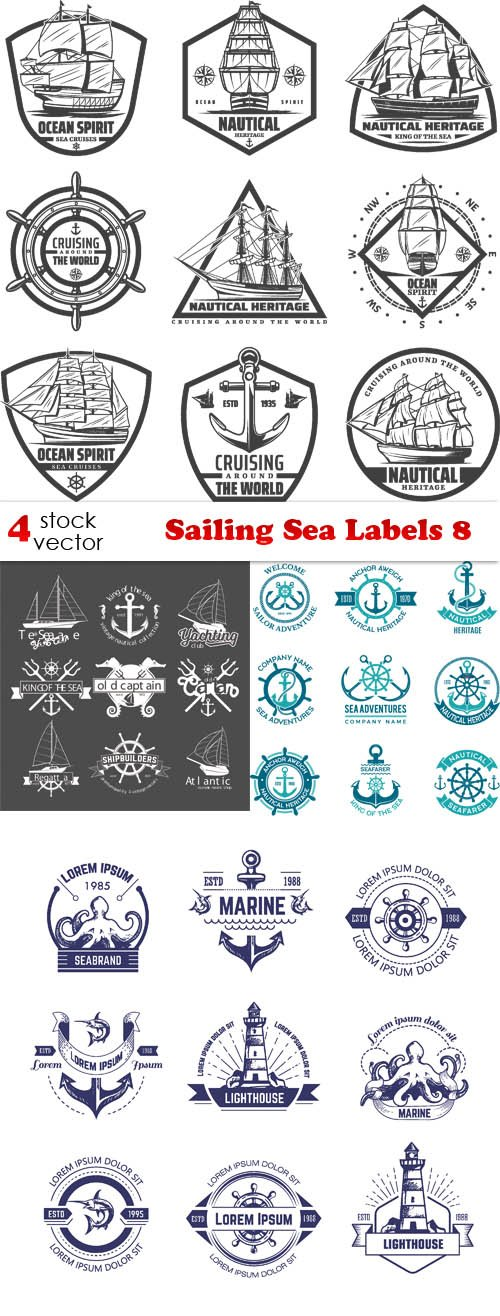 Vectors - Sailing Sea Labels 8