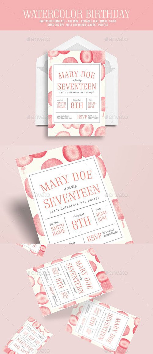 Watercolor birthday party invitation 19676447