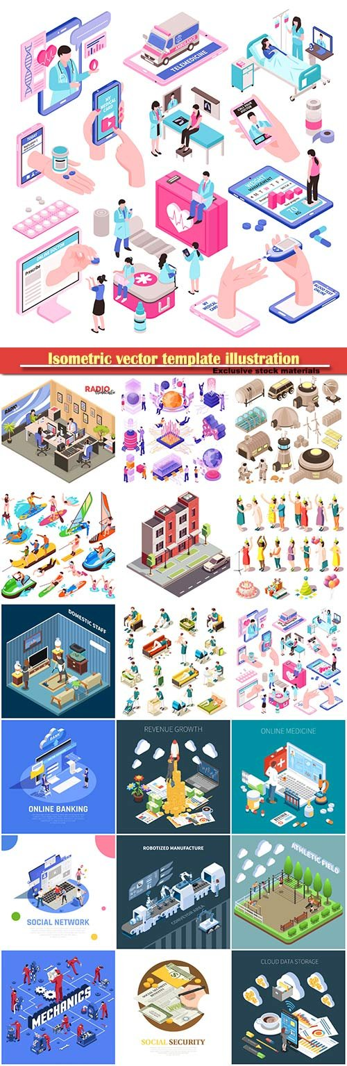 Isometric vector template illustration
