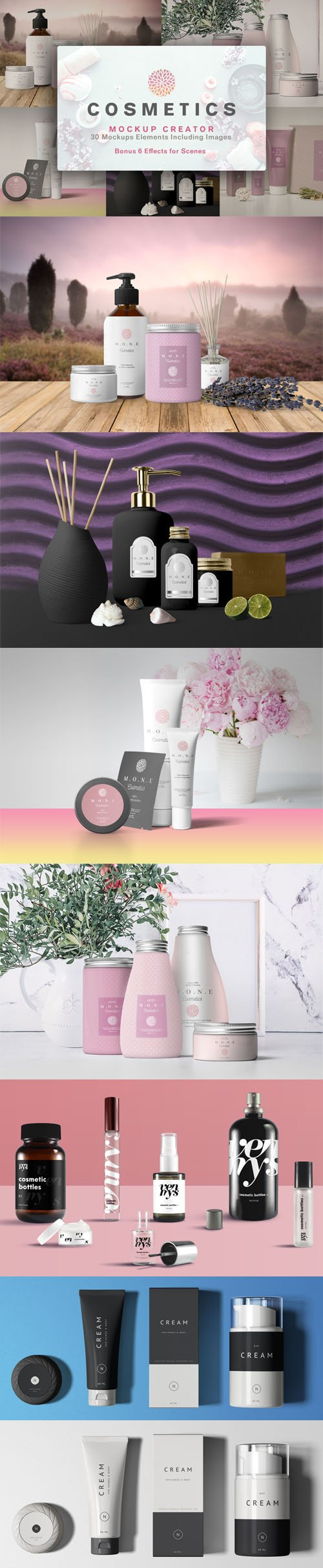 Essential Cosmetics Packaging PSD Mockups Collection