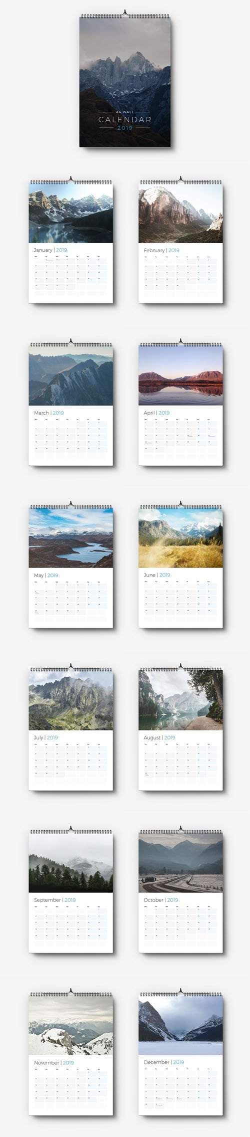 A4 Wall Calendar 2019 InDesign Template