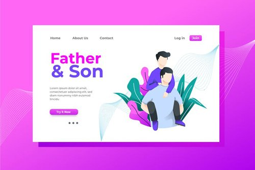 Father and Son Landing Page Illustration