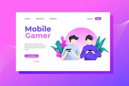 Mobile Gamer Landing Page Illustration