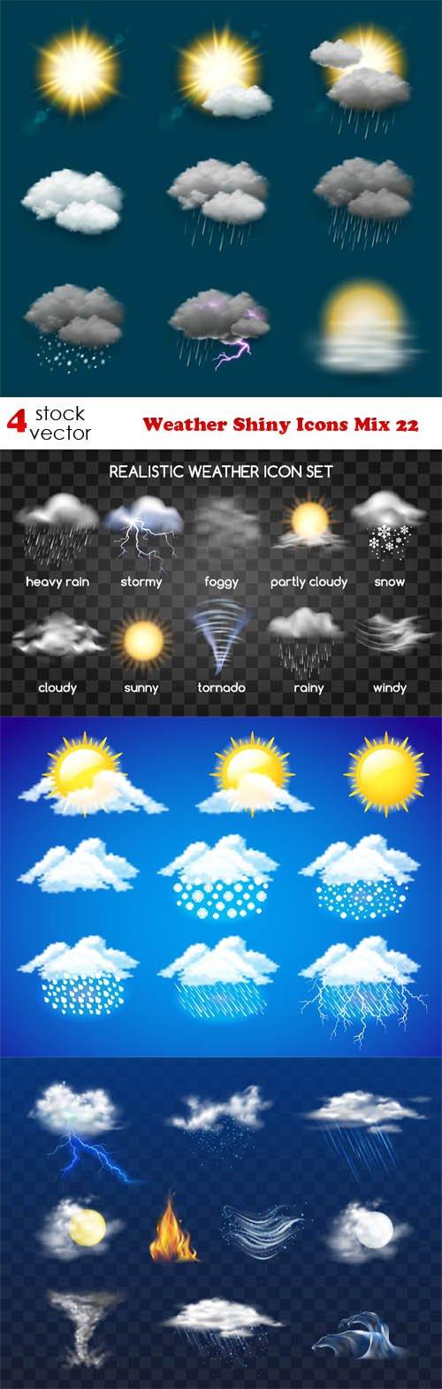Vectors - Weather Shiny Icons Mix 22