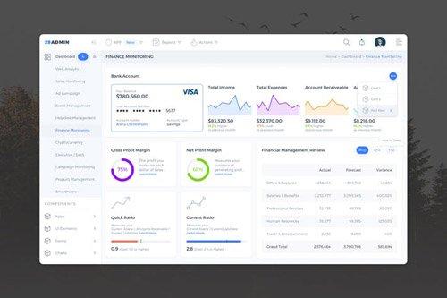 Finance Monitoring Admin Dashboard UI - FD