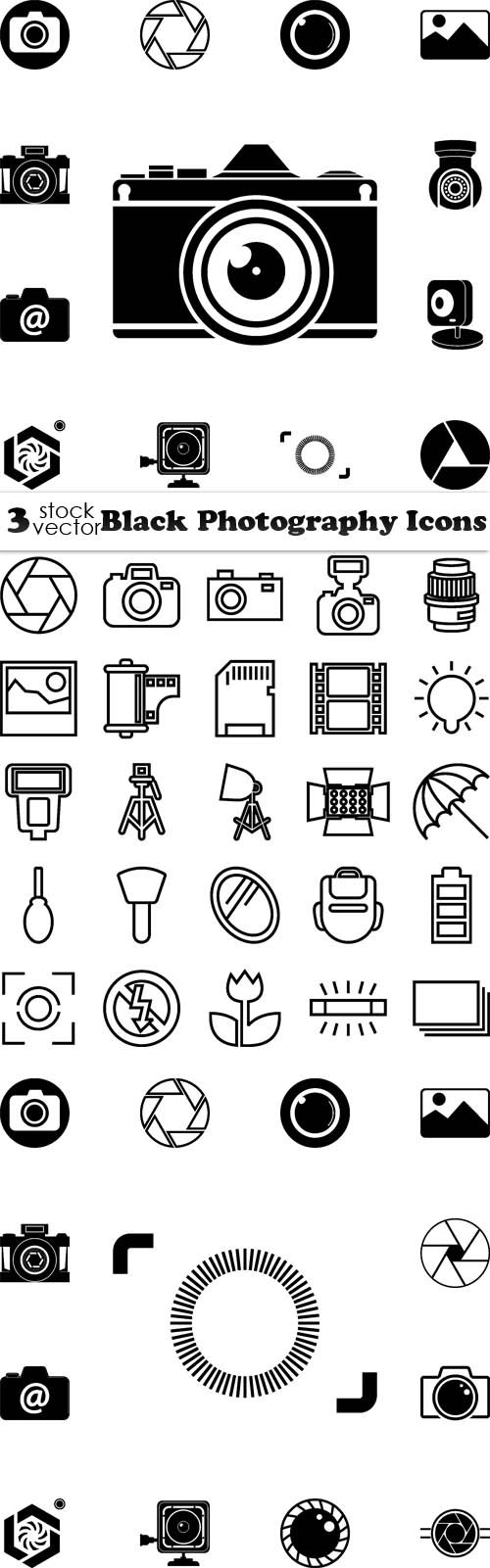 Vectors - Black Photography Icons