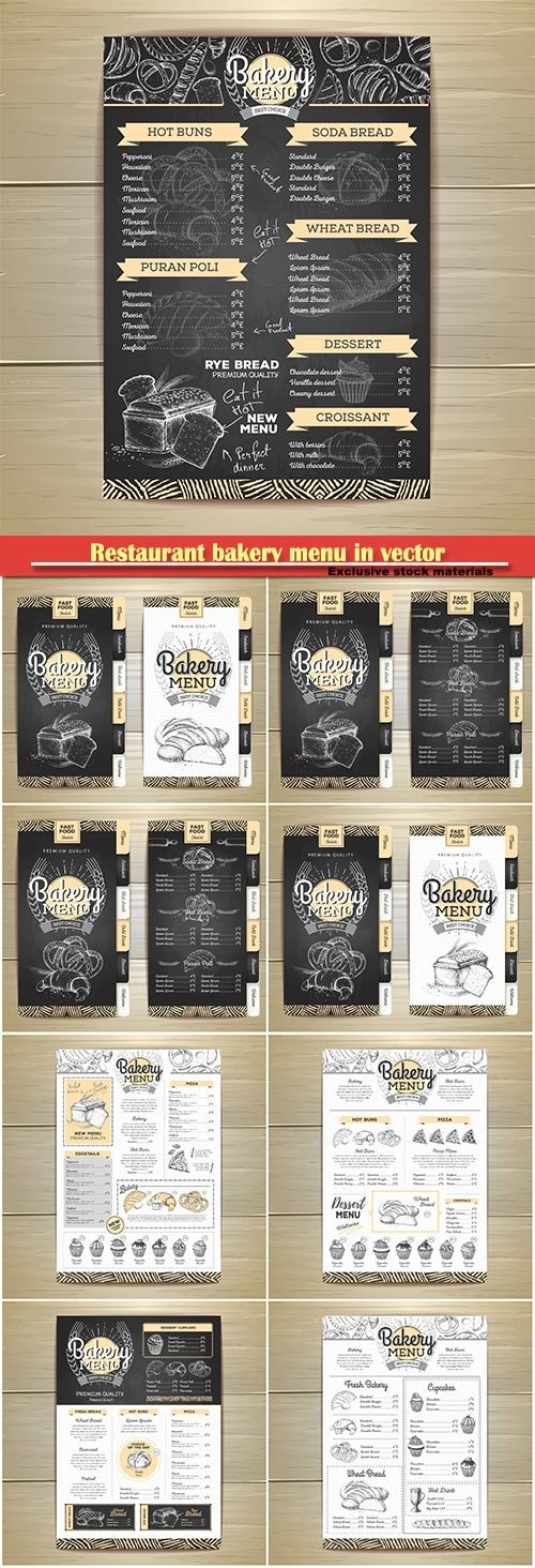 Restaurant chalk drawing bakery menu in vector
