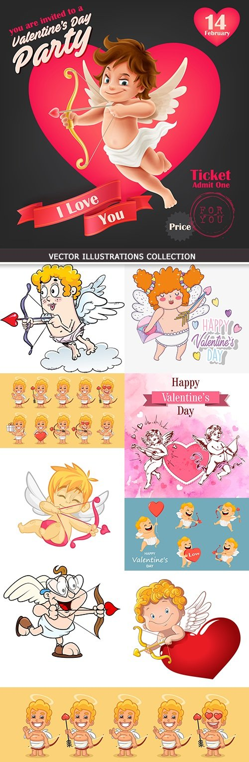 St. Valentine's Day romantic cartoon cupid collection