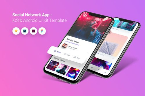 Social Network App iOS & Android UI Kit Template