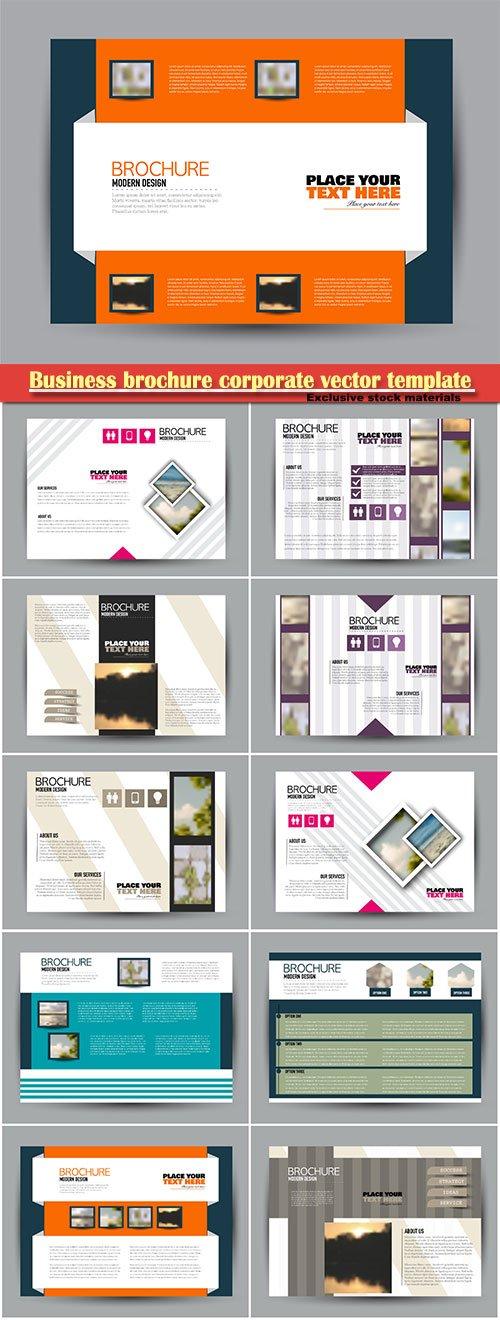 Business brochure corporate vector template, magazine flyer mockup # 9