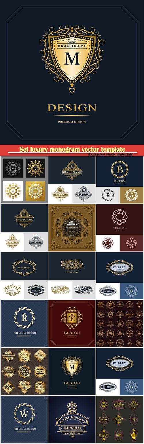 Set luxury monogram vector template, logos, badges, symbols # 16