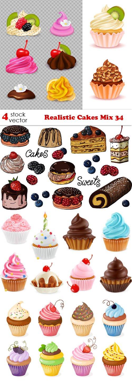 Vectors - Realistic Cakes Mix 34