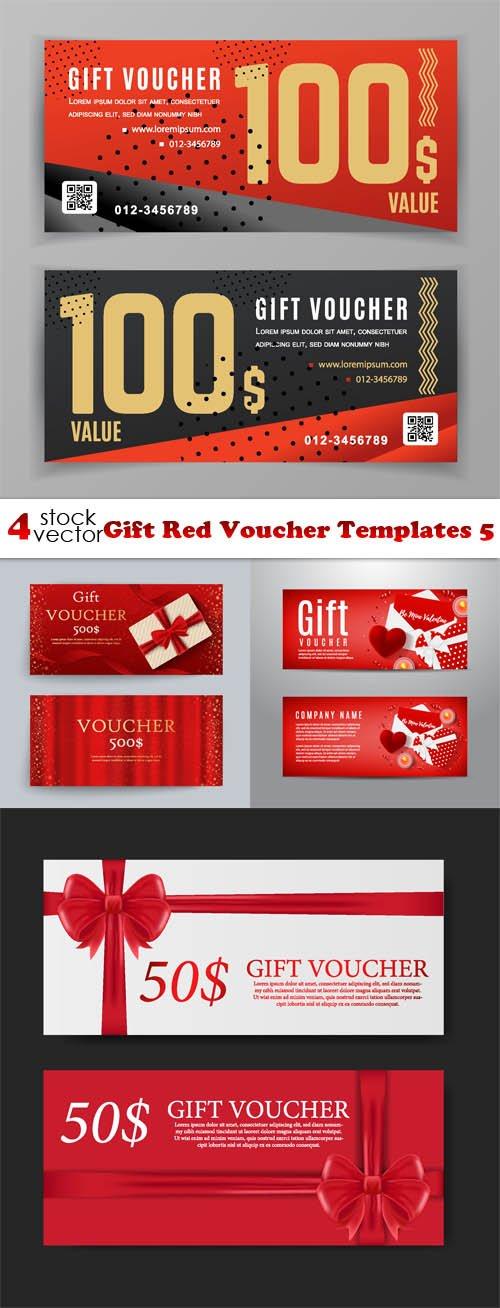Vectors - Gift Red Voucher Templates 5