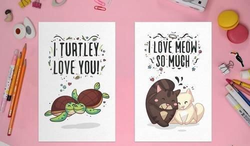 Cute animal hand-drawn valentine's day card