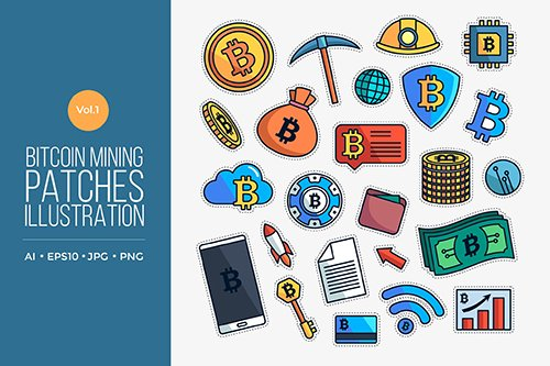 Bitcoin Mining Patches Vector Vol.1
