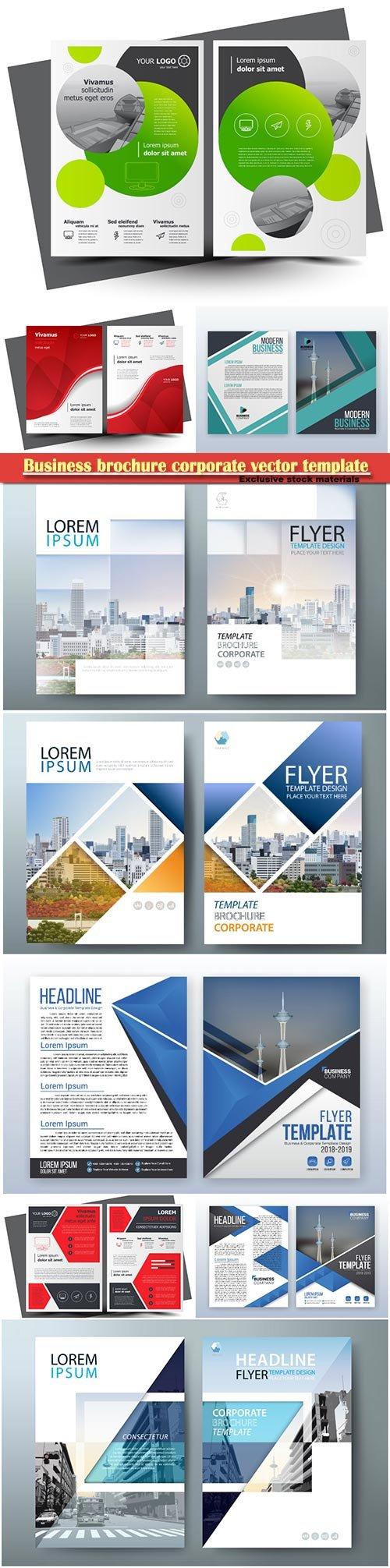 Business brochure corporate vector template, magazine flyer mockup # 12