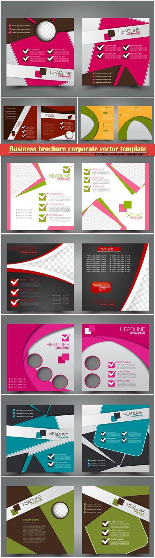 Business brochure corporate vector template, magazine flyer mockup # 14