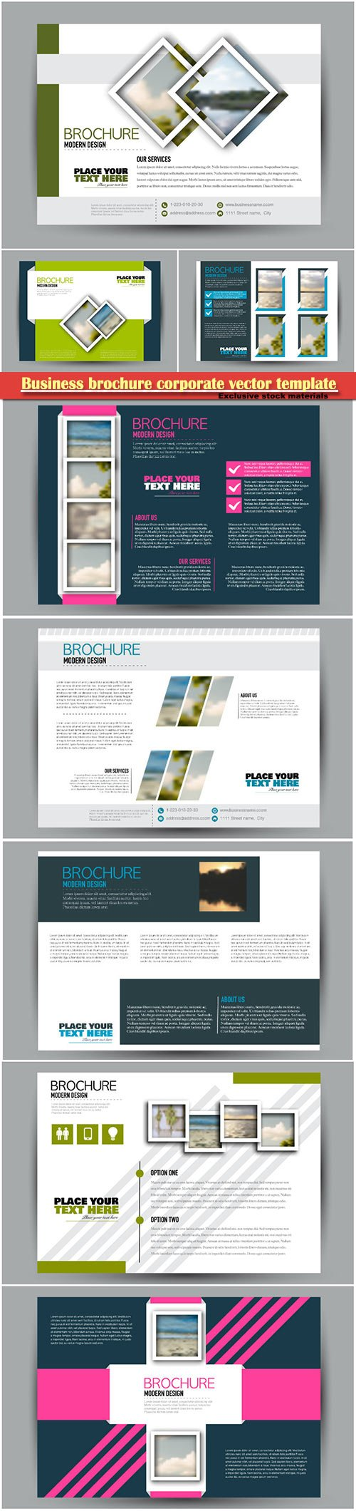 Business brochure corporate vector template, magazine flyer mockup # 15