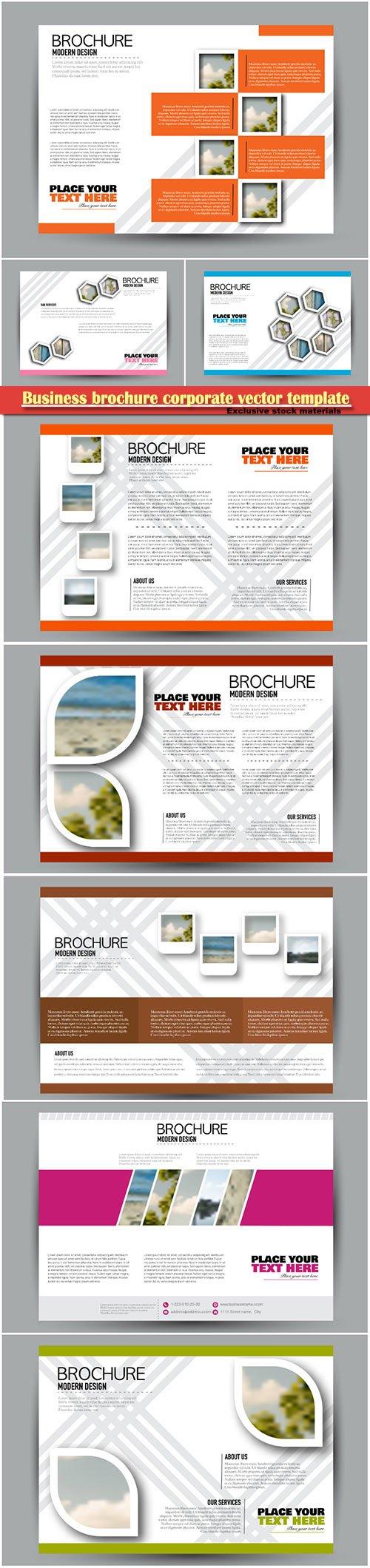 Business brochure corporate vector template, magazine flyer mockup # 16