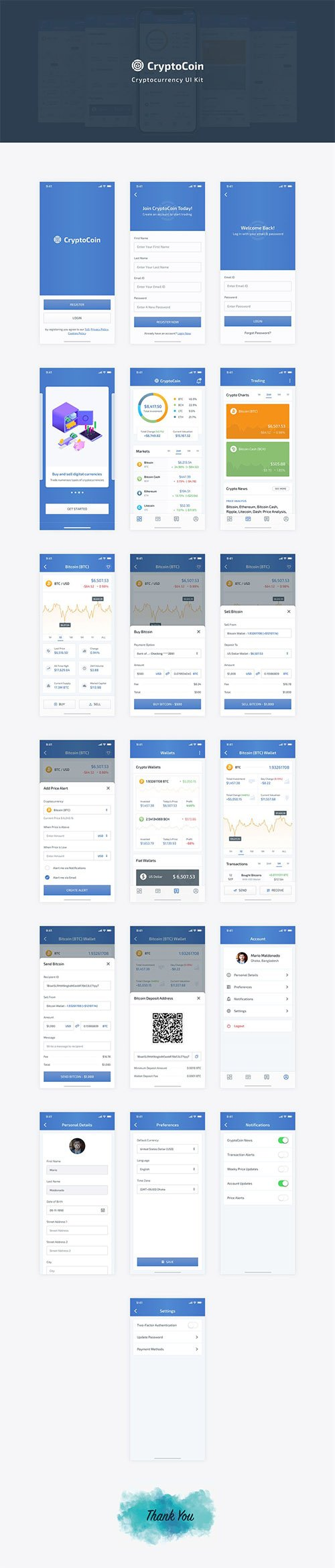 CryptoCoin Cryptocurrency UI Kit