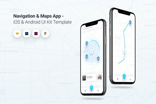 Navigation & Map App iOS & Android UI Kit Template