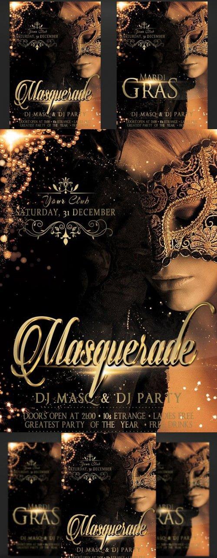 CreativeMarket - Masquerade Mardi Gras Party Flyer 3365455