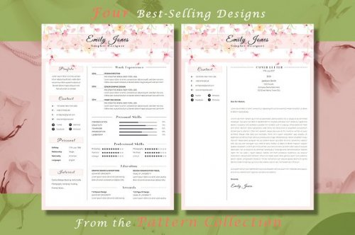 CreativeMarket - Resume CV Bundle Flower Collection 3336781