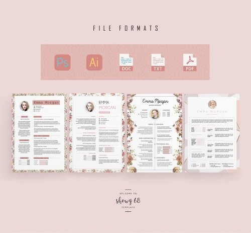 CreativeMarket - Pink Floral Resume BUNDLE Template M 3339673