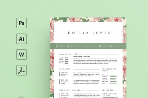 CreativeMarket - Floral Resume Template / Coverletter Template 2543339