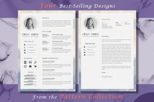 CreativeMarket - Resume CV Pattern Bundle 3335518