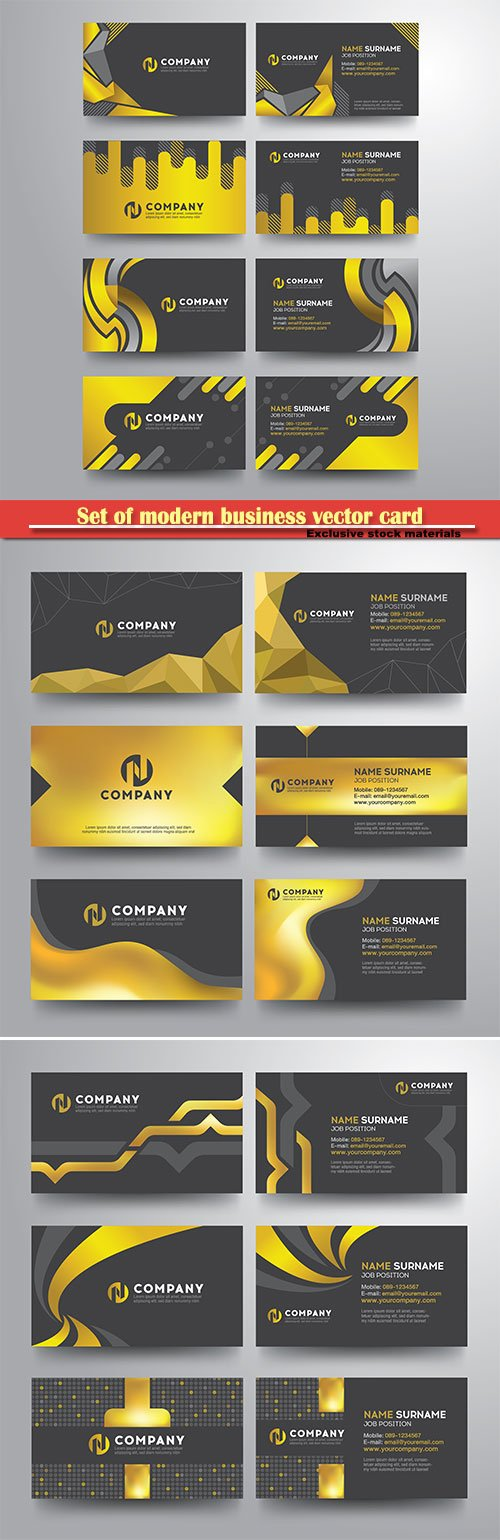 Set of modern business vector card gold gray geometric