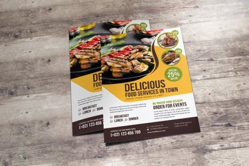 CreativeMarket - Food Restaurant Flyer Design v2 3369163