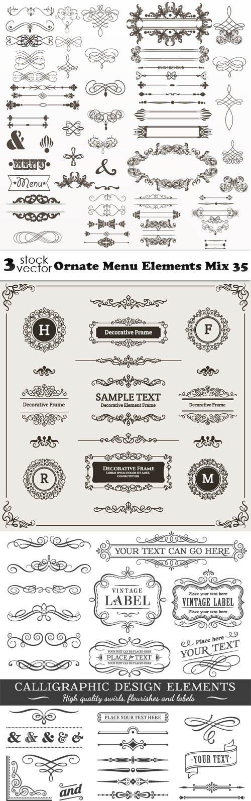 Vectors - Ornate Menu Elements Mix 35