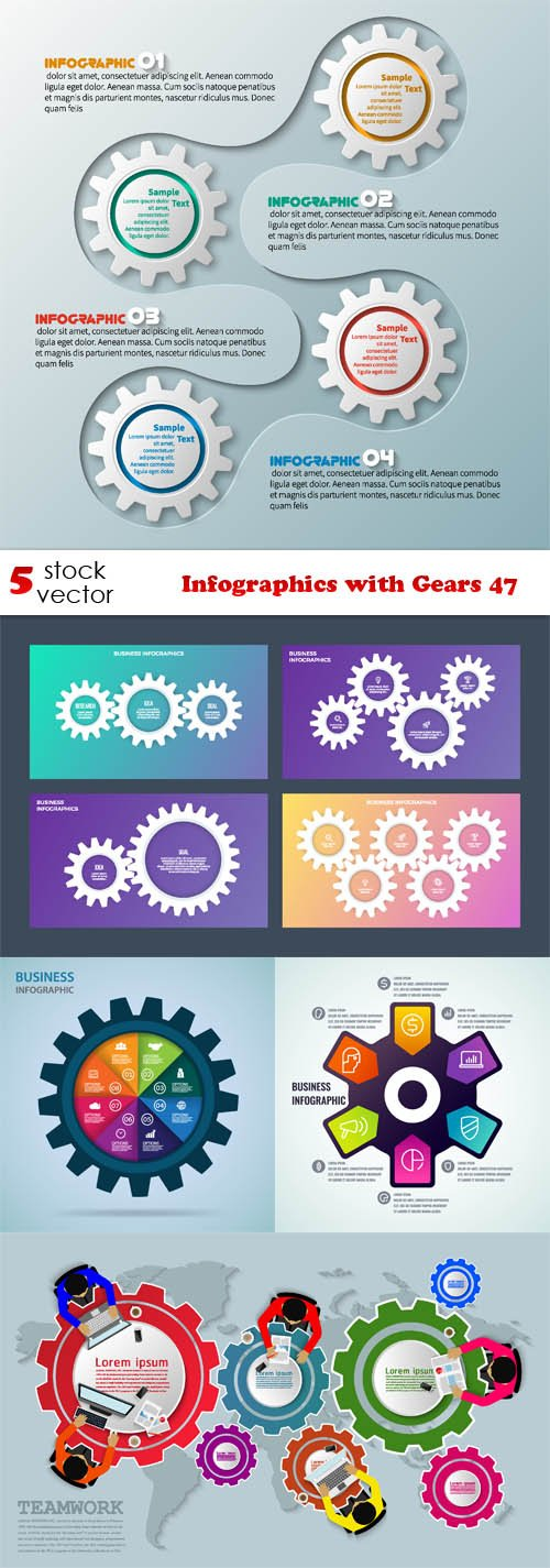 Vectors - Infographics with Gears 47